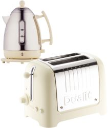 Dualit stainless steel and cream kettle and 2 slot toaster set by