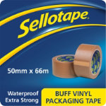 Sellotape Vinyl Packaging Tape Buff 50mm x 66m