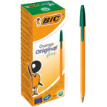 Bic Cristal Orange Fine Ballpoint Green Pack of 20