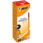 Bic Cristal Orange Fine Ballpoint Red Pack of 20