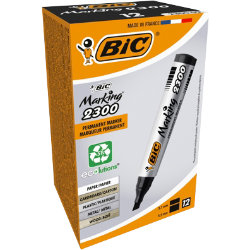 Bic Marketing 2300 Permanent Marker Chisel Point Black Pack of 12