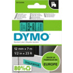 Dymo Labels Black Printed on Green 12mm