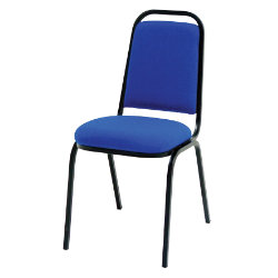 GGI Banquet chairs with black frame and blue fabric pack of four chairs