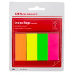 Office Depot Index flags Neon Assorted neon yellow pink green orange Unruled 20 x 50 mm 20 x 50 mm