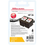 Office Depot Compatible hp 56 Ink Cartridge c9319fn Black Duopack