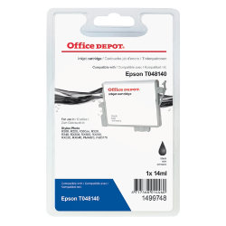 Office Depot Compatible Epson T048140 Black Inkjet Cartridge