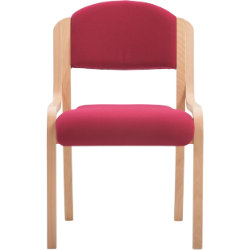 Beech Effect Melamine Frame Stacking Chair Fabric Burgundy