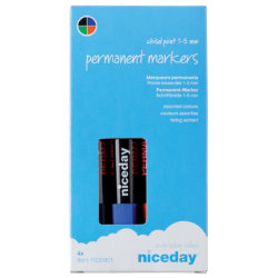 Niceday Permanent Chisel Marker Blue Black Red Green 4pk