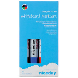 Niceday Whiteboard Markers Chisel Tip 15mm Assorted Pack of 4