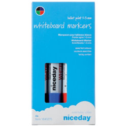 Niceday Whiteboard Markers Bullet Tip 13mm Assorted  4 Pack