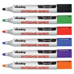 Niceday Whiteboard Markers Bullet Tip 13mm Assorted Pack of 6
