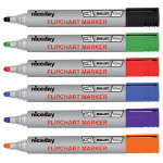 niceday Bullet Tip Assorted 1 x Black Blue Red Green Orange Purple Flipchart Markers 6pk