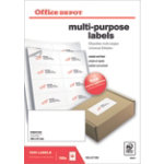 Office Depot Square Multi Purpose Labels Just Corners White 1000 Labels per pack Box 100