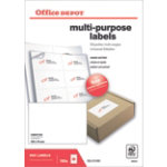 Office Depot Multipurpose Labels Square Corners White 800 Labels per pack Box 100
