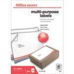 Office Depot Square Multi purpose Labels Just Corners White 100 Labels per pack Box 100