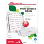 Office Depot Square Recycled Multi purpose Labels Right Angles White 2400 Labels per pack Box 2400