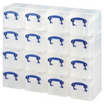 Really Useful Storage Box Organiser Plastic 03 Litre 16 Box Unit H310xw375xd125mm Clear