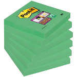 Post it Super Sticky Notes Green 76 x 76 mm 70gsm 6 pieces of 90 sheets