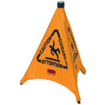 Multilingual Pop up Caution Cone 50cm yellow