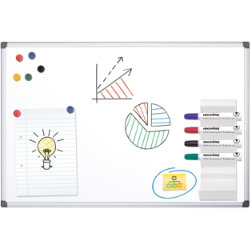 Office Depot Aluminium Frame Magnetic Whiteboard 900H x 1200Wmm