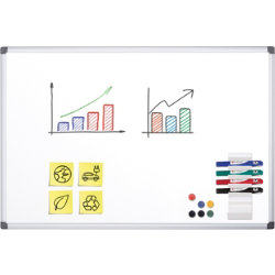 Office Depot Superior aluminium frame magnetic enamel drywipe whiteboard 600 x 900mm