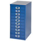 Bisley Multidrawer Cabinet Blue 10 Drawer 590H x 279W x 380D mm