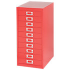 Bisley Multidrawer Cabinet Red 10 Drawer 590H x 279W x 380D mm