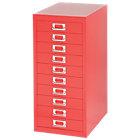 Bisley Multidrawer Cabinet Red 10 Drawer 590H x 279W x 380D mm