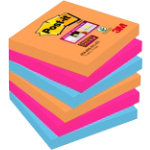 Post it Super Sticky Notes Electric Glow 76mm x 76mm Pack of 6