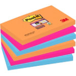Post it Super Sticky Notes Electric Glow 76mm x 127mm Pack of 6