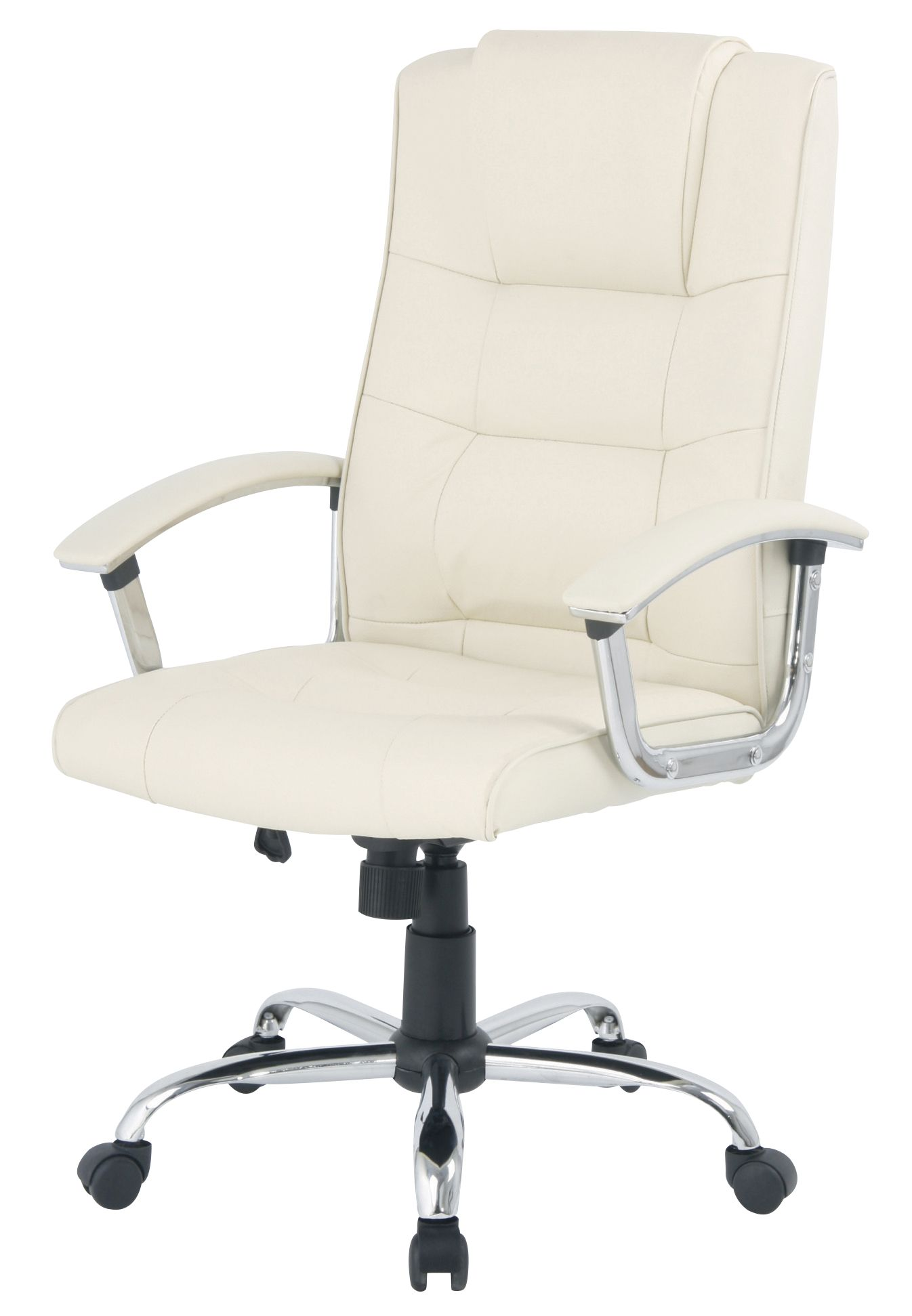 business leather faced executive swivel computer office chair in cream