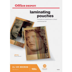 Office Depot A4 250 Micron Clear Gloss Laminating Pouches  Pack of 100