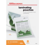 Office Depot Laminating Pouches 250 2 x 125 Micron A4 Matt Pack of 100