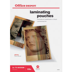 Office Depot Laminating Pouches 150 Micron A3 Clear Gloss Pack of 100