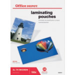Office Depot Laminating Pouches 150 2 x 75 Micron A5 Clear Gloss Pack of 100