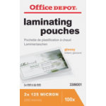 Office Depot Laminating Pouches 250 2 x 125 Micron for Credit Card 54x86mm Clear Gloss Pack of 100