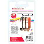 Office Depot Compatible for Canon CLI 8 3 Colours Ink Cartridge CLI 8CMY