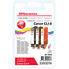 Office Depot Compatible Canon CLI 8C M Y Ink Cartridge 3 Colours 3 pieces