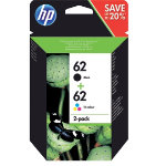 HP 62 Original Ink Cartridge N9J71AE Black 3 Colours Pack 2