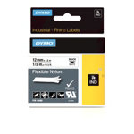Dymo Rhino Labels Black on White 12mm x 35m Flexible Nylon