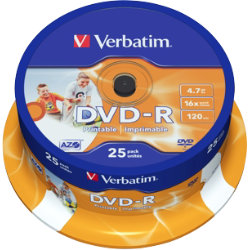 Verbatim DVDR INKJET 16X 4 Printable Spindle 25 Pack
