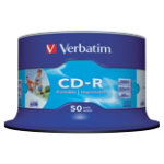 Verbatim CD R 700MB 52X white inkjet printable spindle Pack 50