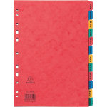 Europa Pressboard Dividers Coloured A4 12 Part Jan Dec Set