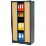 RS Pro Tambour Cupboards Black Beech 1980H x 1000W x 450Dmm