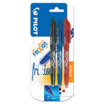 Pilot Frixion erasable 07mm retractable rollerball pen set 1 x black 1 x blue 1 x red set of 3