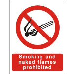 Semi rigid Smoking or Naked Flames Prohibited PVC sign 200 x 150mm