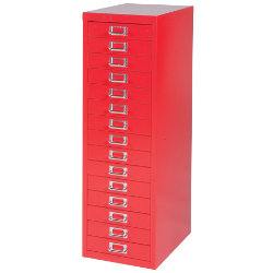 Bisley Multidrawer Cabinet Red 15 Drawer 860H x 279W x 380D mm