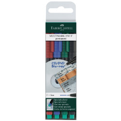 Faber Castell Multimark Permanent OHP and CD Pens Assorted Colours Pack Of 4