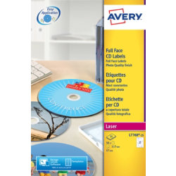 Avery White CD Colour Laser Labels 50 Labels Per Pack L7760 25