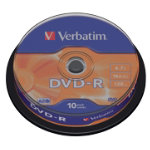 Verbatim DVD R 16X 47GB Spindle 10 Pack